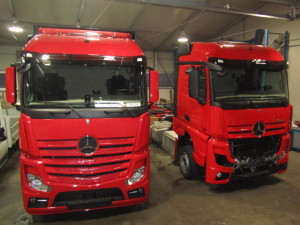 Kleparska dela tovornjak Mercedes potem 1